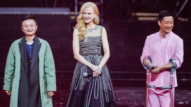 Jack Ma, left, and Nicole Kidman at the Alibaba Double Eleven gala launch in Shanghai on Friday November 10.