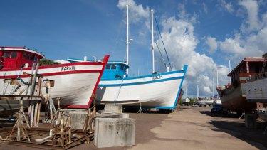 Two of the Vietnamese fishing boats in a Darwin boat yard.