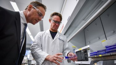 Greg Hunt with Dr Peter Czabotar at the launch of the Turnbull government's $500 million Biomedical Translation Fund at the Walter and Eliza Hall Institute of Medical Research on Wednesday.