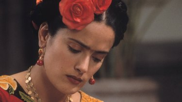 Hayek as Mexican artist Frida Kahlo in the 2002 film Frida, which was nominated for six Oscars, including best actress for Hayek.