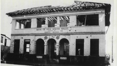 The Bank of New South Wales in Darwin after a Japanese attack in 1942.