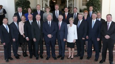 The portfolio of Christopher Pyne (front, second from left), Defence Industry, is a key engine room for the Prime Minister's innovation agenda.