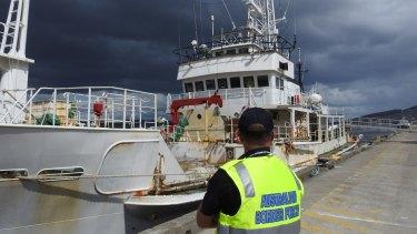 The former whaling boat, Kaiyo Maru No.8, after docking in Hobart
