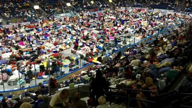 Evacuees fill Germain Arena, which is being used as a fallout shelter, in advance of Hurricane Irma, in Estero, Florida.
