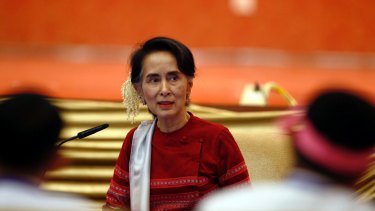 """Myanmar State Counsellor Aung San Suu Kyi during the """"Peace Talk"""" in  Myanmar on January 1."""