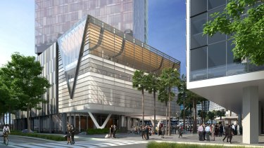 An artists impression of part of the Darling Harbour precinct.