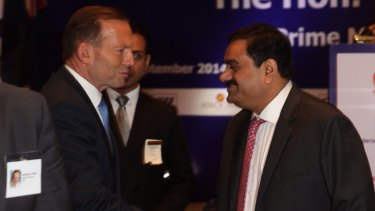 Former prime minister Tony Abbott with mining magnate Gautum Adani.