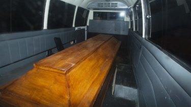 Coffins leaving Wijaya Pura in Cilacap after the executions on Nusakambangan.