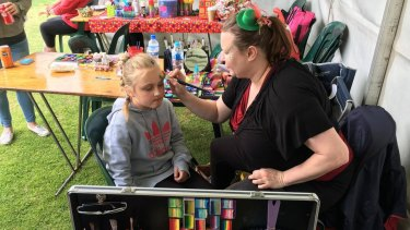 Face painting at the 2017 construction industry family picnic day in Adelaide on Monday