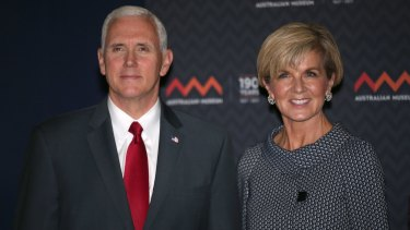 US Vice-President Mike Pence and Foreign Minister Julie Bishop on Saturday.