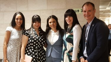 From left: Elly Sapper, Dassi Erlich, Israeli Justice Minister Ayelet Shaked, Nicole Meyer and Victorian MP David Southwick during their visit to Jerusalem.