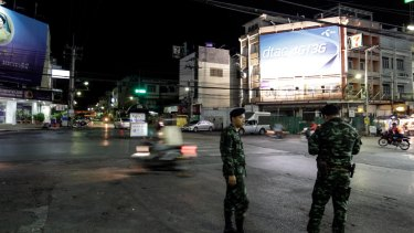 Thai Army officers patrol the streets in Hua Hin, Thailand.