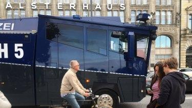 Police vehicles in Hamburg ahead of the G20 meeting.
