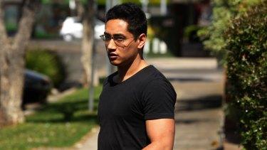 Drug dealer Christopher Thomas Pambos leaves Marrickville police station.