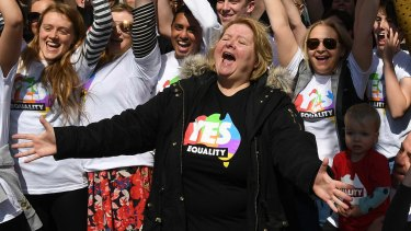 Magda Szubanski, launching the Vote Yes campaign earlier this year.
