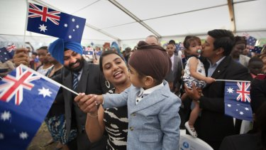 The 220 people who took the citizenship oath at Sunshine on Monday received a gum tree sapling and a handshake from Opposition leader Bill Shorten.
