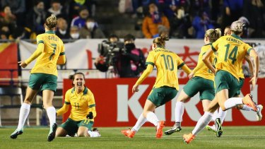Dream start: The Matildas started the Olympic qualifying tournament with a stirring win over Japan.