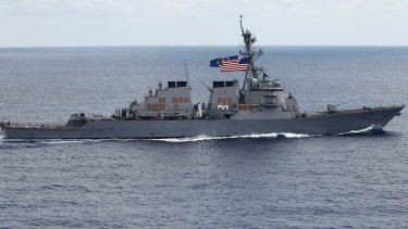 The USS John S McCain destroyer in a file picture.