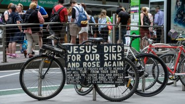 One of the Jesus bikes in Collins Street.