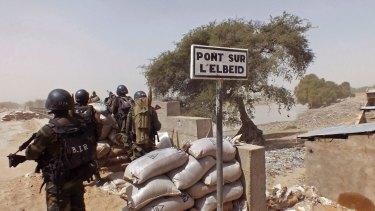 A guard post on Elbeid bridge that separates northern Cameroon form Nigeria's Borno state.