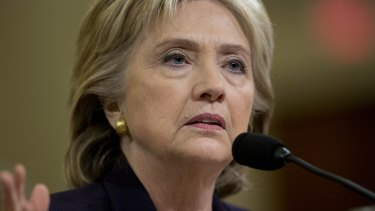 Hillary Clinton speaks during a House select committee on Benghazi hearing in Washington.