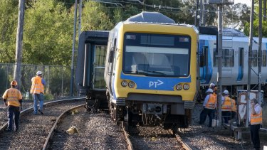 The derailed train at Fitzroy North.