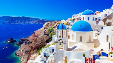 White buildings in the village of Oia on the Greek island of Santorini.