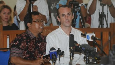 David Taylor at Denpasar District Court on Monday, where he was sentenced to six years' jail.