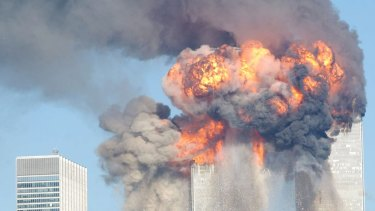 The World Trade Center after being hit by two planes September 11, 2001 in New York City.