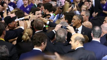 Crowd appreciation: Greetings from President Obama following his speech at the University of Queensland.
