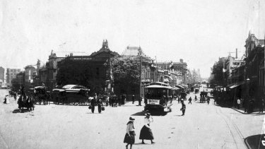 The corner of Queen and Eagle streets, circa 1888.