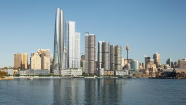 Crown has previously raised concerns about Barangaroo Central impeding views from its planned casino tower, far left.
