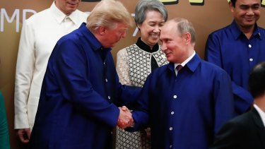 United States of America President Donald Trump and Russian President Vladimir Putin at the APEC summit earlier in the month.