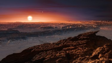 An artist's impression of the surface of planet Proxima b orbiting the red dwarf Proxima Centauri, the closest star to our solar system.