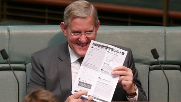 Defecting Liberal MP Ian Macfarlane during question time earlier this month.