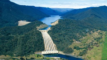 Dam and water storage for the hydro scheme in the Snowy Mountains.