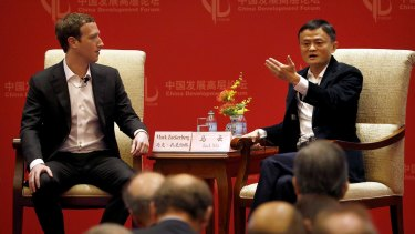 Mark Zuckerberg, left, with Jack Ma, executive chairman of the Alibaba Group, at the China Development Forum in Beijing.