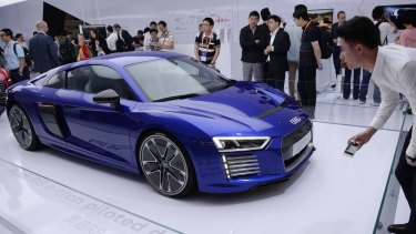 The Audi R8 e-tron, a driverless electronic car on display at a conference in Shanghai this week.