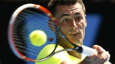 Powering on: Bernard Tomic won in four sets.