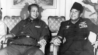 General Suharto pictured with the recently deposed President Sukarno.