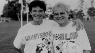Former Socceroo captain Johnny Warren (left) and SBS presenter Les Murray, anchors of SBS Television's exclusive coverage of the 1994 World Cup from San Francisco.