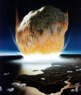 An artist's conception of the asteroid impact millions of years ago that is believed to have killed off the dinosaurs.