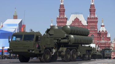 Russia has robust missile capabilities as well. A Russian S-400 air defence missile system seen during a military parade in Red Square.