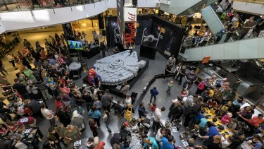 Fans are in hyperdrive mode to put together the Millennium Falcon at Westfield Southland.