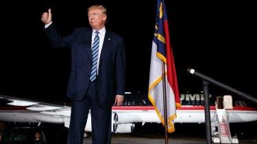 Republican presidential candidate Donald Trump in Kinston, North Carolina.