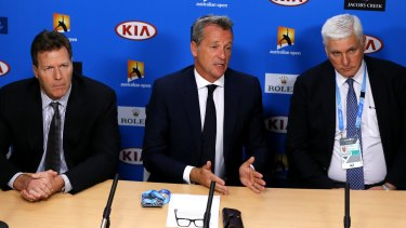 ATP chairman Chris Kermode (centre) speaks to the media, with Nigel Willerton, head of the Tennis Integrity Unit (right) and ATP Vice Chairman Mark Young (left).
