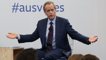 Opposition Leader Bill Shorten makes a stern point during the Facebook debate in Sydney.