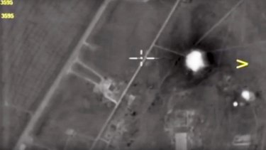 The Syrian airbase after it was hit by US strike in Syria.