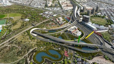 An artist impression of the controversial East West Link.