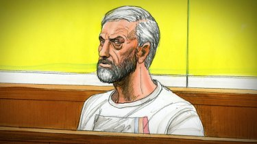 A sketch of Borce Ristevski in court on Wednesday